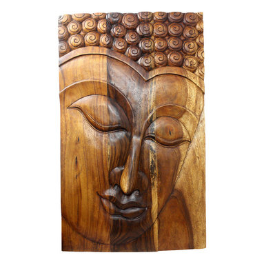 Kammika - Buddha Panel Serene Sus Wood 30 x 47 inch H w  Eco Friendly Livos Walnut Oil Fin - This beautiful Buddha Panel Serene 30 inch length x 47 inch height x approximately 6 inch thickness, including the approximately 4 inch protruding nose, Sustainable Monkey Pod wood in Eco Friendly, Natural Livos Walnut Oil Finish Wall Panel presents a Buddha peaceful countenance gazing down from the magnificent, stately resource of wood. Now you can discover the calming, inspiring effect of Buddha in the Serene stage when you display this wall panel that has been carved from joining panels. Each of the panels has two embedded flush mount Keyhole hangers for a protruding screw from your wall. Alternately, you can place on the floor at a slight angle. These panels are carved by craftspeople in Thailand, who spend hours shaping, sanding, and finishing these wonders of wood. The panels are made of sustainable wood grown specifically for the woodcarving industry. Panels are shipped in sections for ease of shipping and a more manageable hanging weight. The Livos Walnut oil finish is translucent, so the wood grain detail is highlighted. Polished to a matte water resistant and food safe finish, the color ranges from medium to dark Walnut brown tones that will darken as the wood ages. There is no oily feel and cannot bleed into carpets. We make minimal use of electric hand sanders in the finishing process. All products are dried in solar or propane kilns. No chemicals are used in the process, ever. After each piece is carved, dried, sanded, and rubbed with Livos oil, they are packaged with cartons from recycled cardboard with no plastic or other fillers. The color and grain of your piece of Nature will be unique, and may include small checks or cracks that occur when the wood is dried. Sizes are approximate. Products could have visible marks from tools used, patches from small repairs, knot holes, natural inclusions or holes. There may be various separations or cracks on your piece w