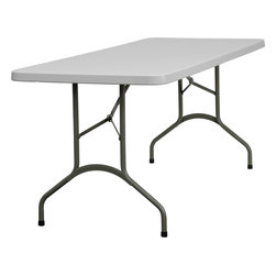 Flash Furniture - Flash Furniture 30''W x 72''L Granite White Plastic Folding Table - This incredibly valued Folding Table is durable for commercial and home use. This multi-purpose table can be used in hotels, banquet rooms, training rooms and seminar settings. Setup this table in a SNAP, and then Store it Virtually Anywhere!