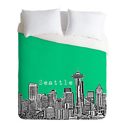 DENY Designs - Bird Ave Seattle Green Duvet Cover - Turn your basic, boring down comforter into the super stylish focal point of your bedroom. Our Luxe Duvet is made from a heavy-weight luxurious woven polyester with a 50% cotton/50% polyester cream bottom. It also includes a hidden zipper with interior corner ties to secure your comforter. it's comfy, fade-resistant, and custom printed for each and every customer.