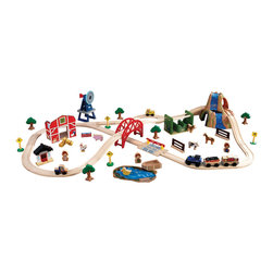 KidKraft - Kidkraft Home Indoor Kids Playroom Decorative Farm Train Set - Not even Old McDonald's farm was this fun. Our brand new Farm Train Set is made up of 75 total pieces, including a red barn, adorable farm animals and a large windmill. This set is built to last and makes a fun gift for any of the young farmers in your life.