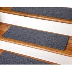 "Dean Flooring Company - Dean DIY Carpet Stair Treads - Stingray Gray 23"" x 8"" - Set of 13 - Dean DIY Carpet Stair Treads - Stingray Gray 23"" x 8"" - Set of 13 Plus Double-Sided Tape : Quality, Stylish Carpet Stair Treads by Dean Flooring Company Extend the life of your high traffic hardwood stairs. Reduce slips/increase traction (your treads must be attached securely to your stairs). Cut down on track-in dirt. Great for pets and pet owners. Helps your dog easily navigate your slippery staircase. 100% Polypropylene. Set includes 13 carpet stair treads PLUS one roll of double-sided carpet tape for easy, do-it-yourself installation. Each tread is bound around the edges. No bulky fastening strips. You may remove your treads for cleaning and re-attach them when you are done. Add a touch of warmth and style and a fresh new look to your stairs today with new carpet stair treads from Dean Flooring Company! This product is designed, manufactured, and sold exclusively by Dean Flooring Company."