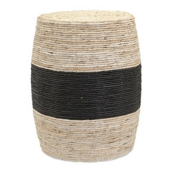 IMAX - Dorran Woven Ottoman - Woven from natural materials, this earth-friendly, black-banded ottoman brings the outdoors in along with a global aesthetic.
