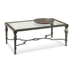 Bassett Mirror - Lido Rectangle Cocktail Table - Traditional Style in Burnished Bronze Finish on Metal. Measures: 50 in. W x 30 in. D x 19 in. H. Part of the Lido Collection.