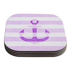 """Kess InHouse - Monika Strigel """"Stone Vintage Purple Anchor"""" Coasters (Set of 4) - Now you can drink in style with this KESS InHouse coaster set. This set of 4 coasters are made from a durable compressed wood material to endure daily use with a printed gloss seal that protects the artwork so you don't have to worry about your drink sweating and ruining the art. Give your guests something to ooo and ahhh over every time they pick up their drink. Perfect for gifts, weddings, showers, birthdays and just around the house, these KESS InHouse coasters will be the talk of any and all cocktail parties you throw."""