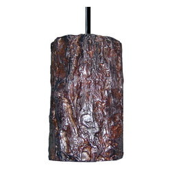 A19 - Bark Pendant - This Bark Pendant was obviously inspired from the wild outdoors. The deep natural tones and textures of bark have you question the material, but because it's made from ceramic it's especially durable and corrosion resistant. The opaque ceramic shade blocks glare while providing generous down-lighting.
