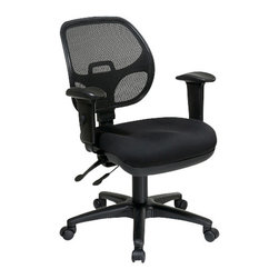 Office Star - Pro-Line II ProGrid Ergonomic Task Chair with Fabric Seat and Adjustable Arms - Ergonomic task chair in black free flex fabric or custom fabric choice. Progrid back and fabric seat. Adjustable arms with pneumatic seat height adjustment. Back height adjustment. 360 degree swivel. Multi-task control.