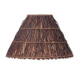 Cal Lighting - Round Woven Twig Shade - Round woven twig shade. Top: 6 in.. Bottom: 16.75 in.. Side: 11.5 in.