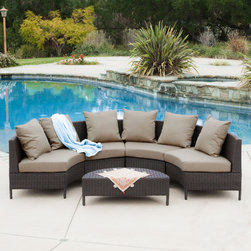 Christopher Knight Home Newton Outdoor 5-piece Dark Brown Wicker Lounge Set -
