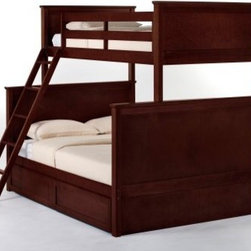 Schoolhouse Twin over Full Bunk Bed - Cherry - In choosing the Schoolhouse Twin over Full Bunk Bed - Cherry you'll have the perfect piece for kids in different stages of aging and growth. In robust hardwood this bed will never betray your trust and the dark cherry finish will be a delight to the eyes. Choose between an open or closed footboard to suit your preference as well as the optional trundle bed privacy panel and drawers for unparalleled functionality. The ladder and guardrail while secure for the safety of your child and your peace of mind are also interchangeable for your custom needs. It's simply ingenious. This bed measures 81L x 56.5W x 70.75H inches. We take your family's safety seriously. That's why all of our bunk beds come with a bunkie board slat pack or metal grid support system. These provide complete mattress support and secure the mattress within the bunk bed frame. Please note: CPSC recommends the tops of the guardrails must be no less than 5 inches above the top of the mattress and that top bunks not be used for children under 6 years of age. About New Energy KidsNE Kids is a company with a mission: to create and import truly unique furniture for your child. For over thirty years they've been accomplishing this mission with flying colors one room at a time. Not only will these products look fabulous they will provide perfect safety for your children by adhering to the highest standards set by the American Society for Testing and Material and the Consumer Products Safety Commission. Your kids are in the best of hands and everyone will appreciate these high-quality one-of-a-kind pieces for years to come.