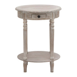 ecWorld - Urban Designs Hand-finished Wooden Oval Accent End Table - Distressed Grey - With rounded corners and unique style, this beautifully crafted side table has a graceful silhouette that is matched with incredible durability. This single-drawer accent table will add style and storage to any room decor.