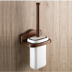 Gedy - Wall Mounted Porcelain Toilet Brush Holder With Wood Mount - Classic style wall toilet brush holder made of porcelain and wood in an old walnut finish. Wall toilet brush holder. Classic style. Made of porcelain and wood in an old walnut finish. From Gedy Montana Collection.