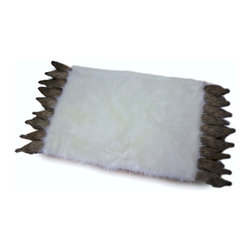 Fur Accents - Fancy Fox Tail Accent Rug Off White Shaggy Throw , Brown Foxtail Fringe, 5'x7' - A Truly Unique and Original Faux Fur Accent Rug/ Area Rug / Soft, Shaggy White Lynx  Fur Throw Rug with Exquisite Foxtail Fringe.  Unique and Exclusive Design. Made from 100% Animal Free and Eco Friendly Fibers. Perfect for a gift or for that special place in your home. This will be the Focal Point of your favorite room. So comfortable and elegant. Thick Fur tastefully lined with Parchment Ultra Suede Lining. Luxury, Quality and Unique Style suitable for the most discriminating Designer / Decorator.
