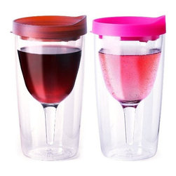 Vino2Go Merlot and Pink 10 Ounce Insulated Wine Tumbler Set With Drink-Through L - Vino2Go 2 Piece Insulated Wine Tumbler Set