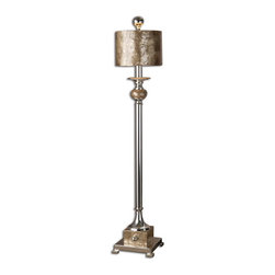 Uttermost - Uttermost 29872-1  Pearl Silver Buffet Lamp - This lamp is silver plated metal with roasted, mother of pearl accents and a matching round shade.