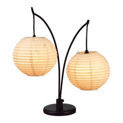 Adesso - Adesso 4100-26 Spheres Table Lamp - A gorgeous and decorative Asian look is available to you in this Spheres Lantern table lamp, by Adesso. This lamp has two exotic round, tan, rice paper lanterns, that are decoratively suspended from curved, antique bronze-finished metal poles.  About Adesso  Adesso was established in 1994, with the vision and belief that consumers who sought high-end contemporary home products at affordable prices would be able to do so. �Adesso has been able to redefine residential spaces with its innovative, well-designed and well priced products. They have integrated an array of colors and materials in the design of their products to include renewable bamboo, cork, glass, resin, woven fabric, rice-paper and even metals.� Adesso is shaping the future of home design and they�re driven by the simple idea that your home is a canvas.