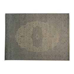 1800-Get-A-Rug - 100% Wool Silver Overdyed Serapi Hand Knotted Oriental Rug Sh16968 - The Overdyed and Patchwork hand knotted rug, represents one of the hottest trends in the industry today. Each Overdyed rug is stripped of its original colors, then dyed again in vibrant hues, to create unique and one-of-a-kind pieces. The Patchwork rug is handcrafted out of salvaged, vintage carpets, with a variety of colors combining to form a wholly unique and textured design.