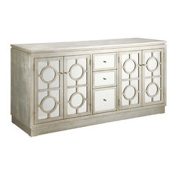 Circles Silver Cabinet - Mirrored 3-Drawer/4-Drawer Buffet in Silver Finish