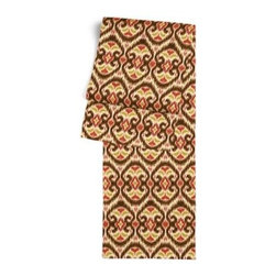 Brown & Red Ikat Custom Table Runner - Get ready to dine in style with your new Simple Table Runner. With clean rolled edges and hundreds of fabrics to choose from, it's the perfect centerpiece to the well set table. We love it in this bold brown, red and curry yellow eclectic ikat on textured cream cotton. The spicy, bustling bazaar brought home to you!