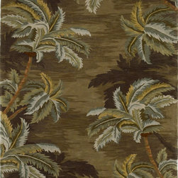 "KAS - KAS Sparta 3102 Palm Trees (Moss) 7'9"" x 9'6"" Rug - Our Sparta Collection in an exclusively designed line of hand-tufted carpets with an antique finish. These rugs are made in China using high-density Chinese wool. Classic and new designs in floral and other styles have been constructed using current color trends. These rugs are finished with an antique vegetable-dyed look and abrash effect. The combination of fresh color and design and the antique finish gives this collection unique trend-setting characteristics. No fringe."
