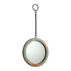 """Cyan Design - Accent Thru the Looking Glass 6"""" Round Antique Blue Wall Mirror - This """"Thru the Looking Glass"""" wall mirror is created in wood with an antiqued turquoise blue finish. Bring Lewis Carroll's Alice in Wonderland story to life and add ambiance to a room with this intriguing wall mirror. Suspended by a long metal hanger design the round glass mirror is encased in an antique turquoise finished wood frame for a rustic look. Round mirror with metal design hanger. Wood construction. Antique turquoise blue highlights. Hang weight is 2 pounds. Glass only is 6"""" round 1/4"""" deep. 9"""" wide. 19 1/2"""" high. 1 1/2"""" deep. Horizontal hanger hardware included.  Round mirror with metal design hanger.  Wood construction.  Antique turquoise blue highlights.  Hang weight is 2 pounds.  Glass only is 6"""" round 1/4"""" deep.  9"""" wide.  19 1/2"""" high.  1 1/2"""" deep.  Horizontal hanger hardware included."""