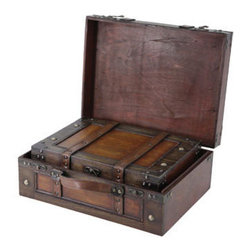 Old Style Suitcase With Straps Set of 2 - Decorative trunk that is great for storage and decoration Great Tressure Box Map wood trunk Old Fashioned hardware adds to antique look Our warm and welcoming steamer trunk brings back days of old time. Remember how excited you are when you were a little kid to look into your grandma's old chest, our decorative trunks will bring back those memories and help you create some new ones too. Our hope chest boxes are all handcrafted and tailored to enhance the existing decor of any room in the home. Great to use for your very own treasure chest!