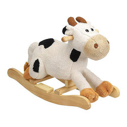 "Charm Company - Carlton Cow Rocker - The Carlton Cow Plush Rocker by the Charm Co. is made of a super soft plush that has the feel of a baby blanket. This rocking cow features a white plush body with black spots and a light tan snout. Squeeze his ear to hear him MOO this feature requires 2AA batteries not included. Holds up to 100 lbs. Recommended for children ages 3 and up. Strong hardwood rocker base. Natural non-toxic finish. Natural stain wooden handles. Extra soft plush body Fun sounds. Easy clean up with mild soap and water. Dimensions: Overall Height: 16"" Seat Height to Floor: 11"" Rocker Length: 25.5"" Rocker Width: 10.5"""