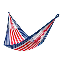 Yellow Leaf Hammocks - Red White and Blue Hammock, Family-Size (Cap. 550 Lbs) - Family-Size | A star-spangled hammock inspired by backyard barbecues and hot summer days spent running through the sprinklers, our 'Monticello' Hammock is 100% handcrafted by artisan weavers for maximum comfort.
