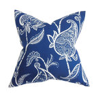 """The Pillow Collection - Fenella Floral Pillow Blue White - This floral pillow brings a timeless and elegant styling to your home. Embellished with an intricate floral pattern this square pillow features a look that's both contemporary and tradition. This square pillow features a two-toned color palette in blue and white. Ideal for indoor use, toss this 18"""" pillow in your living room or bedroom. Made of 95% soft cotton and 5% high-quality linen fabric. Hidden zipper closure for easy cover removal.  Knife edge finish on all four sides.  Reversible pillow with the same fabric on the back side.  Spot cleaning suggested."""