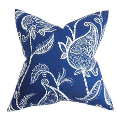 "The Pillow Collection - Fenella Floral Pillow Blue White - This floral pillow brings a timeless and elegant styling to your home. Embellished with an intricate floral pattern this square pillow features a look that's both contemporary and tradition. This square pillow features a two-toned color palette in blue and white. Ideal for indoor use, toss this 18"" pillow in your living room or bedroom. Made of 95% soft cotton and 5% high-quality linen fabric. Hidden zipper closure for easy cover removal.  Knife edge finish on all four sides.  Reversible pillow with the same fabric on the back side.  Spot cleaning suggested."