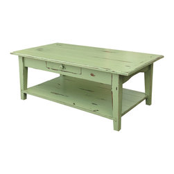 Fable Porch Furniture - Shaker Coffee Table, Espresso, 24 X 60 X 18 - Distressed Shaker Coffee Table