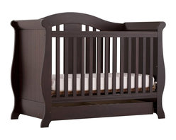 Stork Craft - Stork Craft Vittoria 3-in-1 Fixed Side Convertible Crib in Espresso - Stork Craft - Cribs - 04587229 - The Vittoria 3 in 1 Fixed Side Convertible Crib by Stork Craft offers a classic sleigh design that adds a rich sophistication to the nursery.The extra large bottom drawer allows for ample storage of your child's most precious belongings. It has a well built construction made of attractive solid wood and wood products offered in a variety of beautiful non toxic durable finishes. This crib is not only gorgeous but it is versatile; converting from a standard crib to a daybed and ultimately to a full-size bed complete with headboard and footboard (full size bed rails not included). Set-up this extravagant Vittoria Fixed Side Convertible Crib effortlessly with it's easy to follow directions and extra sturdy stationary side rails. Complete your nursery look by adding complimentary accessories by Stork Craft: a changing table chest dresser or glider and ottoman.