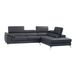J&M Furniture - J&M Furniture A973 Italian Leather Sectional with Right Hand Facing in Ash Grey - A fusion of style, and comfort. This sleek design is sure to add spice to any decor while maintaining a modernistic clean design. Beautifully crafted from premium grade thick Italian leather and features 3 independent ratchet headrest. Available in a vibrant red, or black. the A973b is definitely another winner by J&M Furniture.