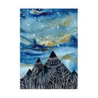 My Wonderful Walls - The Summer Triangle Wall Sticker - Astronomy Art by Elise Mahan, Small - Product:   mountains against star filled summer sky decal