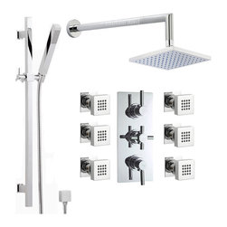"""Hudson Reed - Thermostatic Shower System, Extended Arm, Slide Rail Kit & 6 Body Jets - The Hudson Reed Tec Thermostatic Triple Shower Valve (3 Outlet) features lever and cross head controls for fingertip control.  Constructed from brass and with modern ceramic disc technology, this chrome finish minimalist shower valve supplies water to either the fixed shower head, a handset or 6 body jets. Safety comes as standard with a pre-set maximum temperature and an anti-scald device. It is possible to use the shower head simultaneously with a handset or body jets, but this may reduce the flow of water to both functions.Hudson Reed Concealed Thermostatic Triple Valve with Built-in Diverter Details   Dimensions: (H x W) 11 x 4¾ Durable, dependable and with the luxury of a solid brass rough-in valve included Chrome finish Ceramic Disc Technology Pre-set maximum temperature (38°) Automatic anti scald device Suitable for water systems between 2 - 75 psi pressure ½ NPT Inlets and Outlets Compatible with standard US plumbing connections Suitable for combi boilers, gravity fed systems, unvented mains pressure systems and for shower pumps  Please note: using two functions simultaneously may reduce the water flow to both outlets.  Hudson Reed Chrome Square Slide Rail Shower Kit Details  Dimensions: 22.3""""(H) x 4.3""""(W) Projection from wall (rail): 2.8""""  Hudson Reed Chrome Overhead Shower Details   Height: 5½ Projection From Wall: 16 Diameter Of Head: 6¾  Hudson Reed Chrome Body Jet Details  Dimensions: 1.75""""(H) x 1.75""""(W) Projection from wall : 2.16"""""""
