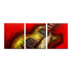 Matthew's Art Gallery - Oil Painting Modern  Art on Canvas Red Gibson Guitar - The Painting:  Gibson Guitar