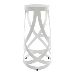 """LexMod - Ribbon Bar Stool in White - Ribbon Bar Stool in White - Positioned firmly atop the impossible, Ribbon makes it easy to go where you didnt think you could. Molded from reinforced strips of coated aluminum, the stool introduces just the right amount of complexity to your environment, without appearing too busy and chaotic. Ribbon is the stool just right for the rebellious side of you. Not too ostentatious, but ever one to impress. Set Includes: One - Ribbon Stool Perfect in living or lounge areas, Powder coated steel strips and seat, Interwoven strip design, Comes fully assembled, Lightweight and durable Overall Product Dimensions: 15""""L x 15""""W x 30""""H - Mid Century Modern Furniture."""