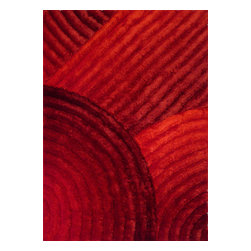 Rug - ~5 ft. x 7 ft. 3-D Red Plush Living Room Shaggy Hand-tufted Area Rug - 3D SHAG COLLECTION