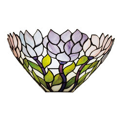 Meyda Tiffany - Meyda Tiffany Wisteria Tiffany Wall Sconce X-69482 - The Meyda Tiffany Wisteria wall sconce gives a truly classic Tiffany look with its eye catching mosaic craftsmanship. Characteristics include a beautiful foliage design finished in brilliant Tiffany bronze featuring flowers swaying in the wind using stunning color. The shade showcases pastel colors of pink, purple, and blue with a cutout boarder.