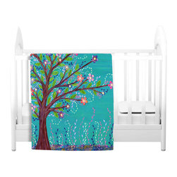 DiaNoche Designs - Throw Blanket Fleece - Happy Tree - Original Artwork printed to an ultra soft fleece Blanket for a unique look and feel of your living room couch or bedroom space.  DiaNoche Designs uses images from artists all over the world to create Illuminated art, Canvas Art, Sheets, Pillows, Duvets, Blankets and many other items that you can print to.  Every purchase supports an artist!