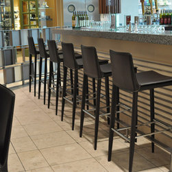 Tiffany Stools by sohoConcept - This handsome stool is a perfect choice for a sophisticated bachelor pad or modern man cave. With a fabulous low-backed seat in black, brown or navy regenerated leather, the Tiffany is stunning in either counter or bar height.