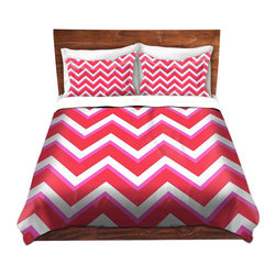 DiaNoche Designs - Duvet Cover Microfiber - Layer Red Pink - DiaNoche Designs works with artists from around the world to bring unique, artistic products to decorate all aspects of your home.  Super lightweight and extremely soft Premium Microfiber Duvet Cover (only) in sizes Twin, Queen, King.  Shams NOT included.  This duvet is designed to wash upon arrival for maximum softness.   Each duvet starts by looming the fabric and cutting to the size ordered.  The Image is printed and your Duvet Cover is meticulously sewn together with ties in each corner and a hidden zip closure.  All in the USA!!  Poly microfiber top and underside.  Dye Sublimation printing permanently adheres the ink to the material for long life and durability.  Machine Washable cold with light detergent and dry on low.  Product may vary slightly from image.  Shams not included.