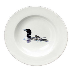 Caroline's Treasures - Loon Momma and Baby Round Ceramic White Soup Bowl 8718-SBW-825 - Loon Momma and Baby Round Ceramic White Soup Bowl 8718-SBW-825 Heavy Round Ceramic Soup Bisque Gumbo Bowl 8 3/4 inches. LEAD FREE, microwave and dishwasher safe. The bowl has been refired over 1600 degrees and the artwork will not fade or crack. The Artwork for this gift product and merchandise was created by Sylvia Corban copyright and all rights reserved.