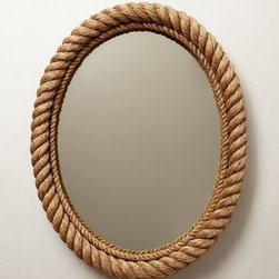 Shoreline Mirror, Oval - This mirror reminds me of a ship window, and I love how the frame looks like a rope.
