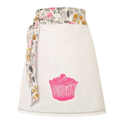 artgoodies - Organic Block Print Cupcake Apron - Each organic apron is hand printed with an original hand carved block print by Lisa Price. The band and ties are made of a coordinating vintage-style fabric and the embroidered accent at the bottom sets the fabric off just right!  Dazzle your kitchen on any ordinary day or be the cutest hostess ever!