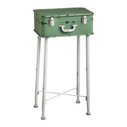 Contemporary Metal Side Table - Vintage inspiration gets a fresh makeover on this stylish table for the family room or entry. An old-fashioned metal suitcase in happy shades of mint green and white makes up the top of a table perfect for stashing away keepsakes within sight.