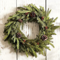 Ballard Designs - Angel Pine Wreath 24 Inch - The most realistic angel pine we've ever seen. Its soft, synthetic needles have light and dark shading just like natural pine. Real pine cones complete the illusion. Bow not included.