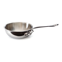 Mauviel M'cook 1.7 qt. Stainless Steel Curved Splayed Saute Pan - The Mauviel M'cook 1.7 Quart Curved Splayed Saute Pan offers professionals and household cooks the highest culinary technology. Five layers of materials provide perfect conductivity for each product thanks to fast and uniform heat distribution. The handles are made from cast stainless steel and reinforce the pure and modern design of this range. Each piece of Mauviel cookware is handcrafted in France.