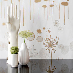 Fairy Flower (Gold) by Ferm Living - Botanical doodles meet space-age graphics in this eclectic wallpaper from Ferm Living. It's especially striking in a dressing area, dining room, entryway or in a powder room.