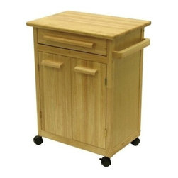 Winsome Wood - Kitchen Cart with One Drawer & Cabinet - Our solid beechwood worktop provides you with handy food preparation surface on this rolling storage Cart. A top drawer is underpinned by a large two-door cabinet. This Cart is a perfect addition to any kitchen and its handy towel bar are helpfull too.