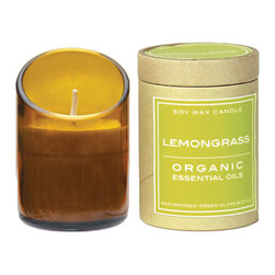 Be Home - Recycled Glass Candle Diagonal Cut,  Lemongrass, Amber - The butcher and baker have nothing on this candle maker. Long- and clean-burning soy wax candles are made using fragrant, eco-certified essential oils and unbleached cotton wicks, then poured into diagonally cut recycled glass bottles. Each comes packaged in a recycled cardboard container.